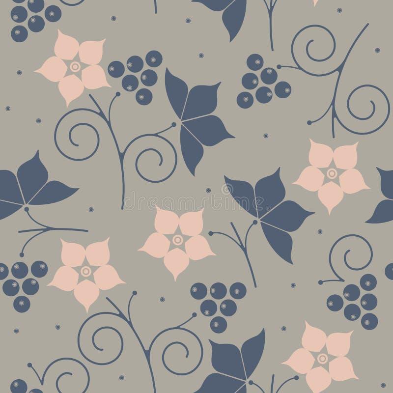 Teste padrão sem emenda à moda com amora-preta, folhas e flores ilustração royalty free