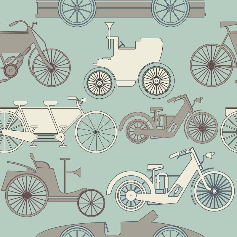 Teste padrão sem emenda à moda com carros e bicicletas do vintage ilustração stock