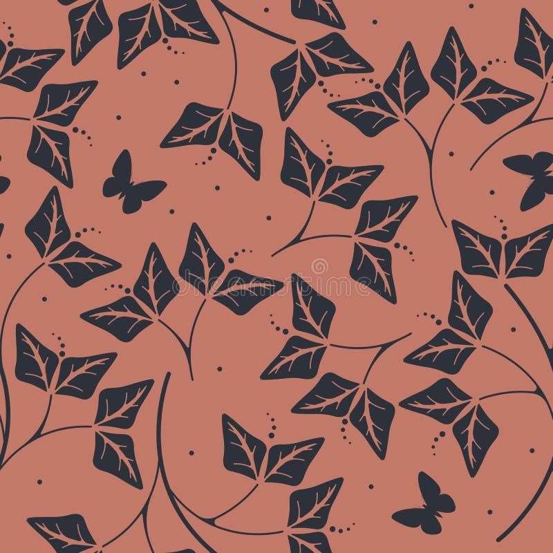 Teste padrão sem emenda à moda com pétalas e borboletas ilustração royalty free