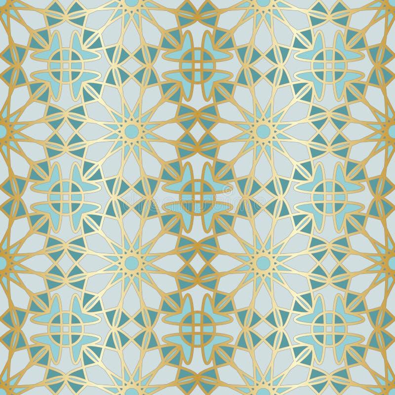 Teste padrão sem emenda árabe Janela islâmica tradicional da mesquita com o mosaico da grade do ouro ilustração stock
