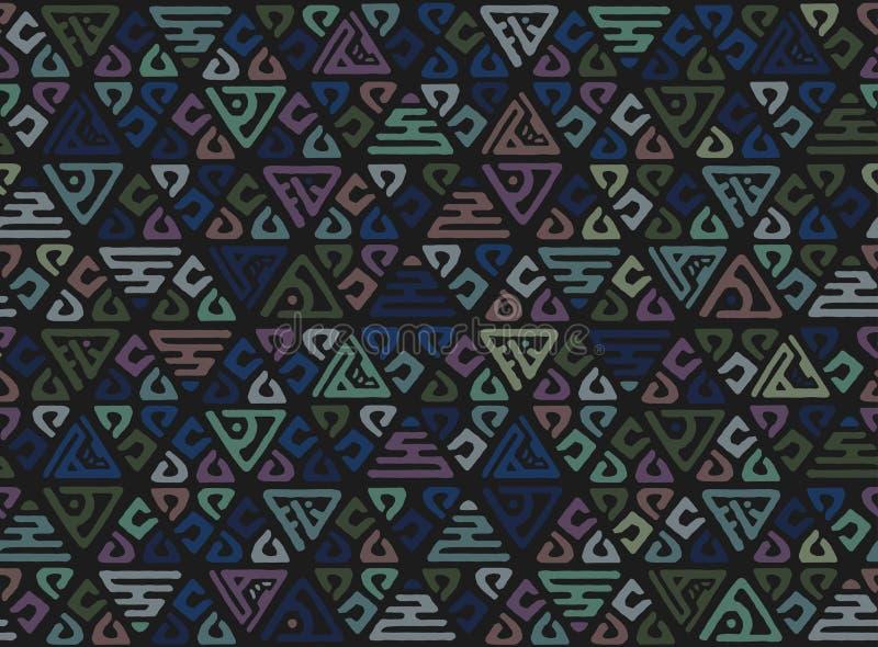 Teste padrão sem emenda étnico da arte tribal abstrata Ikat Povos que repetem a textura do fundo Cópia geométrica Projeto da tela ilustração do vetor