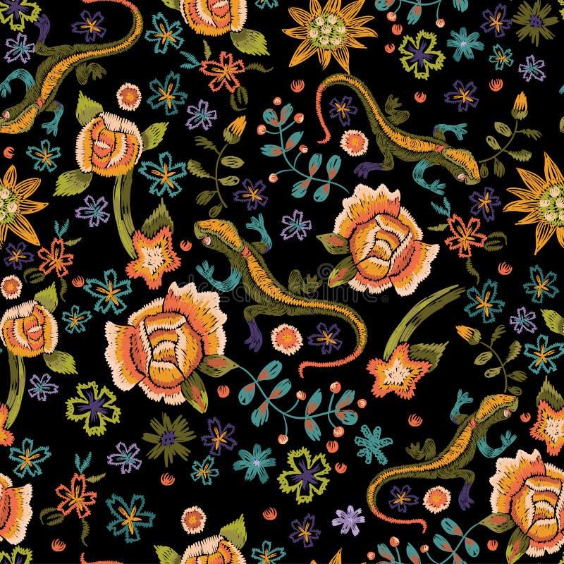 Teste padrão sem emenda étnico do bordado com lagartos e flores Vec ilustração royalty free