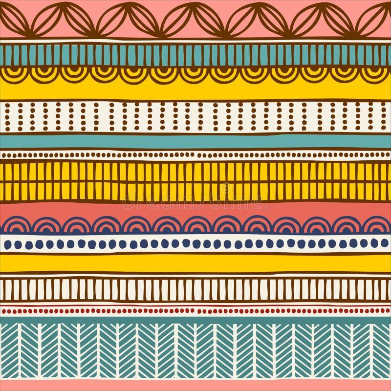 Teste padrão sem emenda étnico do vetor Ornamento listrado tribal tirado mão Conceito de projeto para a cópia da forma, fundos ilustração royalty free