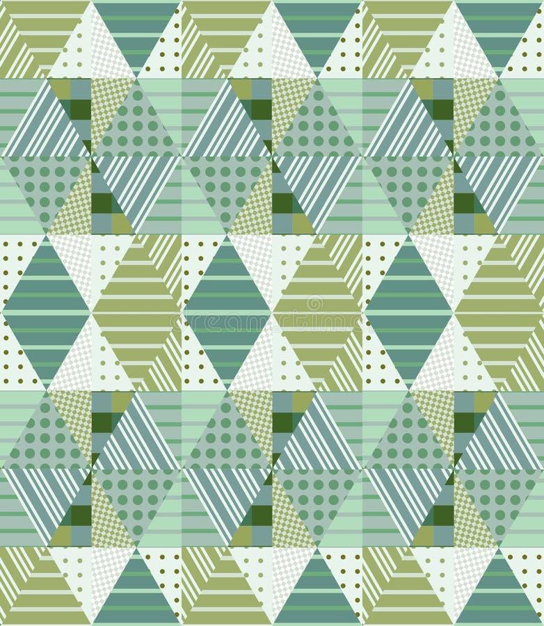 Teste padrão sem emenda étnico dos retalhos em tons verdes Ornamento tribal geométrico ilustração stock