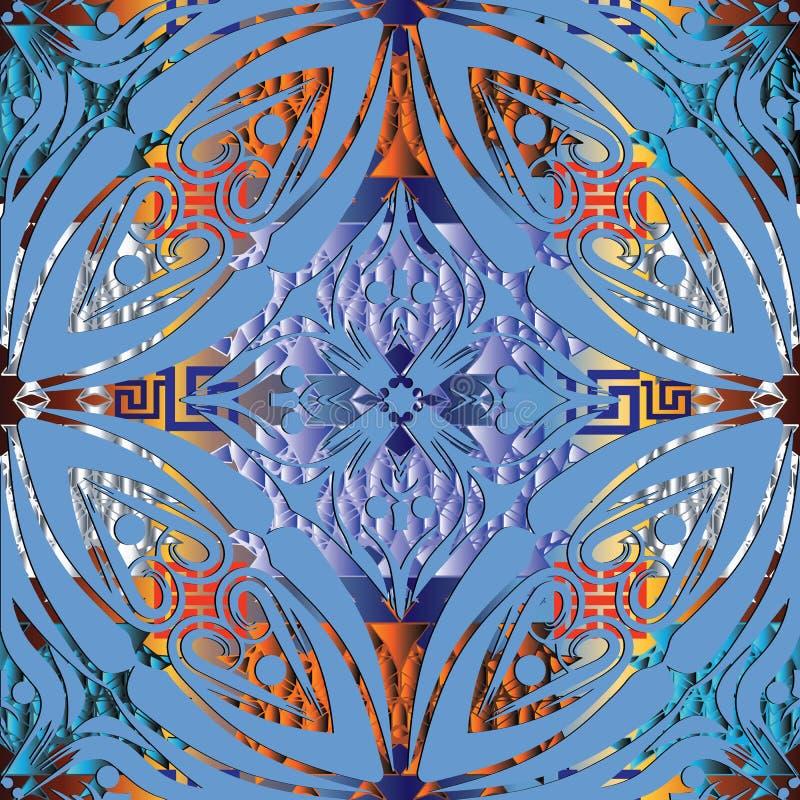 Teste padrão sem emenda étnico floral do estilo 3d Patte do ornamental do vetor ilustração stock