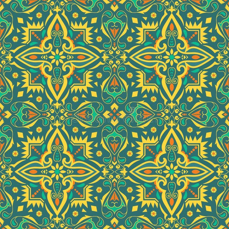 Teste padrão sem emenda étnico, fundo com o ornamento floral e geométrico ilustração do vetor