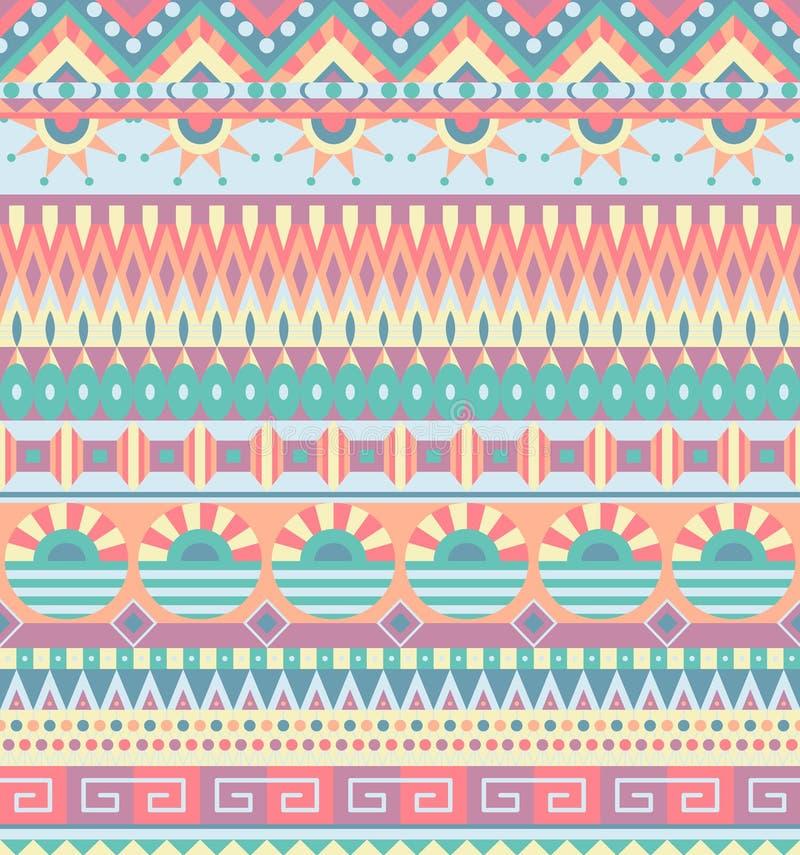 Teste padrão sem emenda étnico Ornamento tribal geométrico Estilo popular Fundo abstrato colorido ilustração royalty free