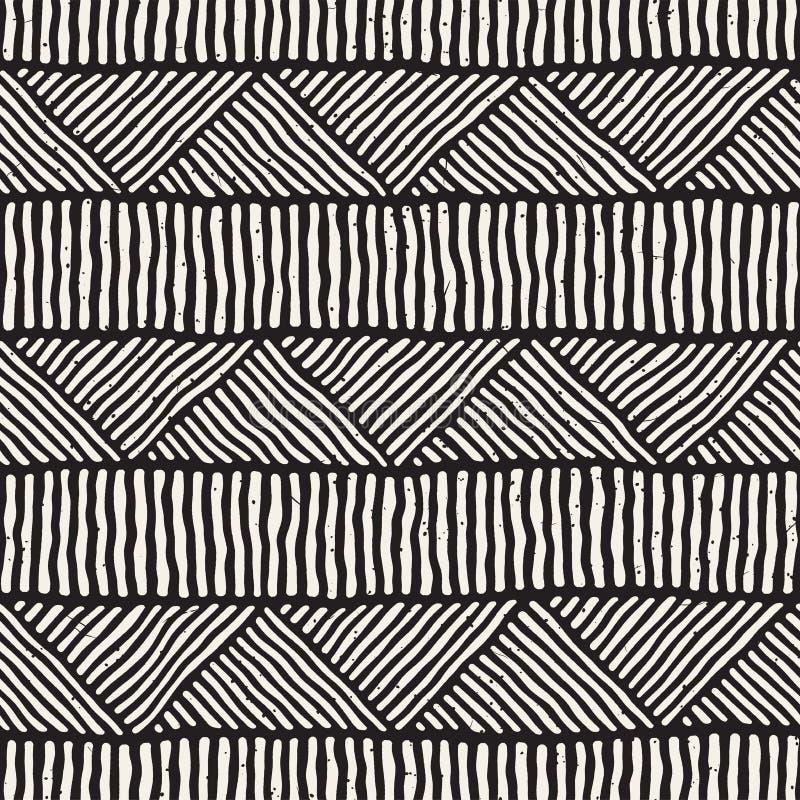 Teste padrão sem emenda étnico tirado mão do estilo Fundo geométrico abstrato da telha em preto e branco ilustração do vetor