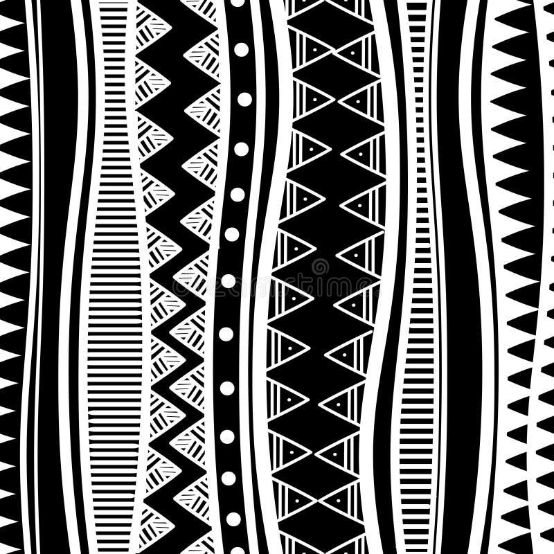 teste padrão sem emenda étnico tribal do maya antigo com ilustração preto e branco do vetor da cor para a cópia e o envolvimento  ilustração stock