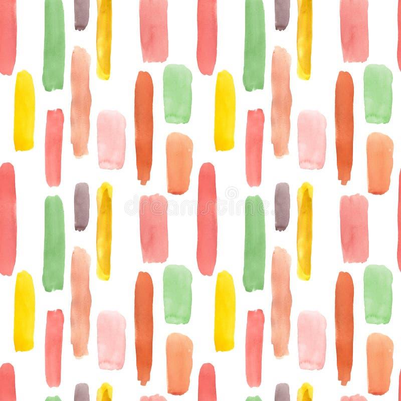 Teste padrão sem emenda abstrato colorido da aquarela com listras e linhas Vermelho, rosa, laranja, manchas coloridas verdes da p ilustração stock