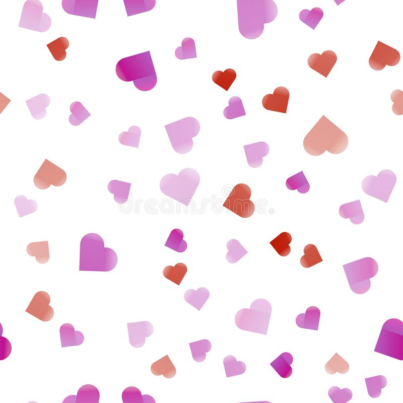 Teste padrão sem emenda abstrato colorido dos corações Cores de sobreposição Teste padrão sem emenda do Valentim Ilustration do v ilustração stock