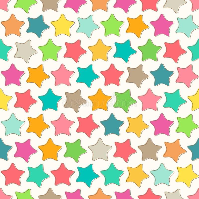 Teste padrão sem emenda abstrato com as estrelas coloridas brilhantes ilustração royalty free