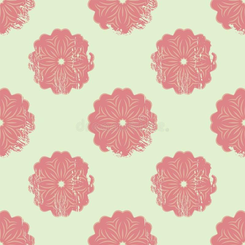 Teste padrão sem emenda abstrato com as mandalas florais no estilo com riscos, ilustração do grunge do vetor ilustração royalty free