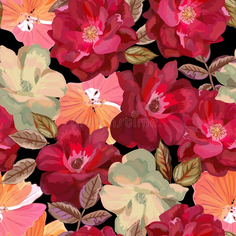 Teste padrão sem emenda abstrato com as rosas vermelhas tiradas mão isoladas sobre ilustração royalty free