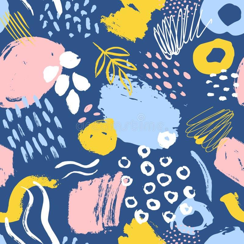 Teste padrão sem emenda abstrato com borrões coloridos da pintura, traços, gotas no fundo azul Ilustração criativa do vetor dentr ilustração royalty free