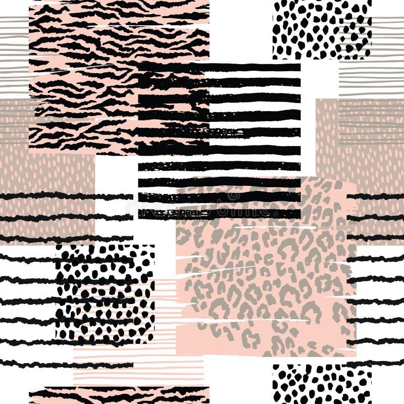 Teste padrão sem emenda abstrato com cópia animal Mão na moda texturas tiradas ilustração stock