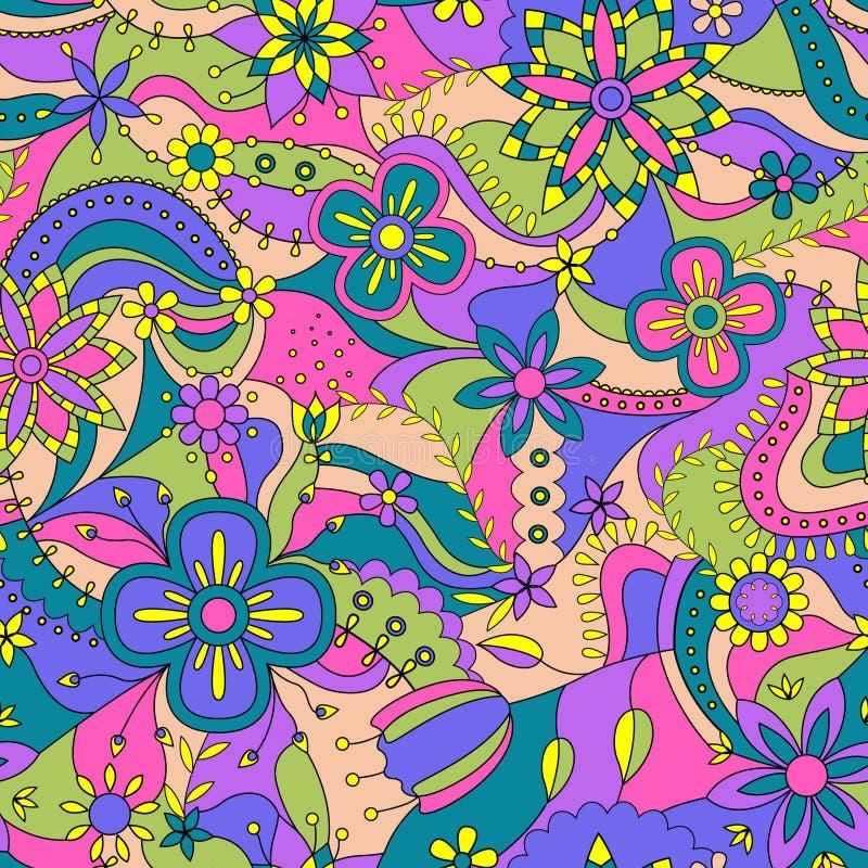 Teste padrão sem emenda abstrato com flores ilustração do vetor