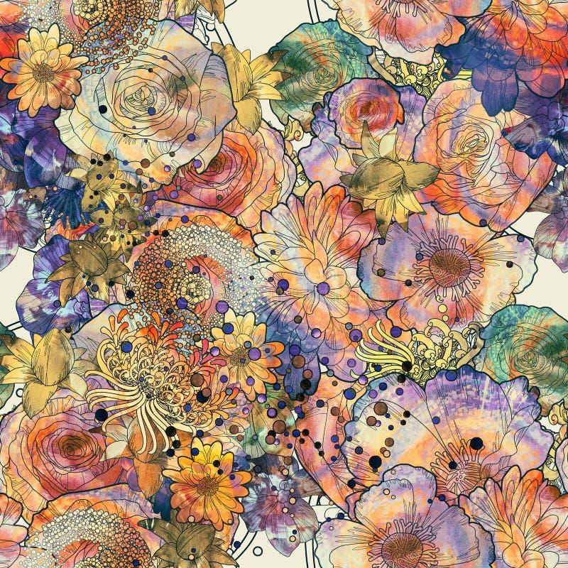 Teste padrão sem emenda abstrato com flores coloridas ilustração royalty free