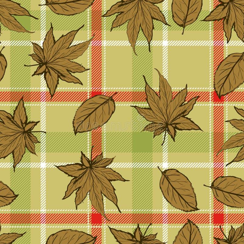 Teste padrão sem emenda abstrato com folhas e fundo das flores com a folha de bordo com fundo do marrom da manta ilustração royalty free
