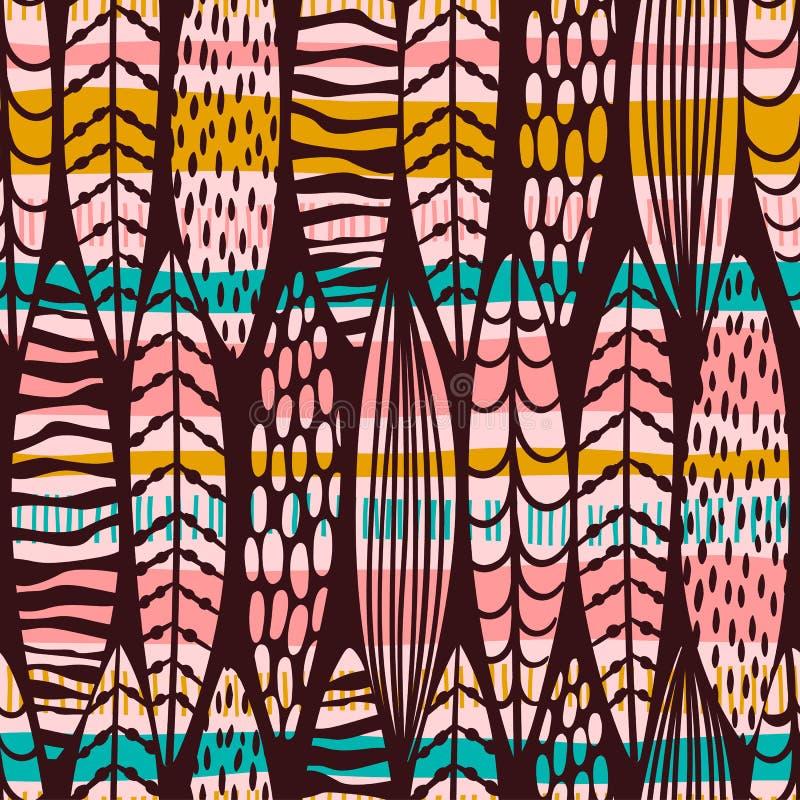Teste padrão sem emenda abstrato com folhas tropicais ilustração royalty free