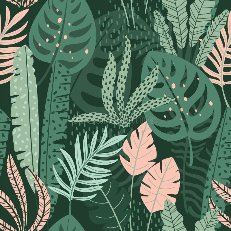 Teste padrão sem emenda abstrato com folhas tropicais Textura da tração da mão ilustração royalty free