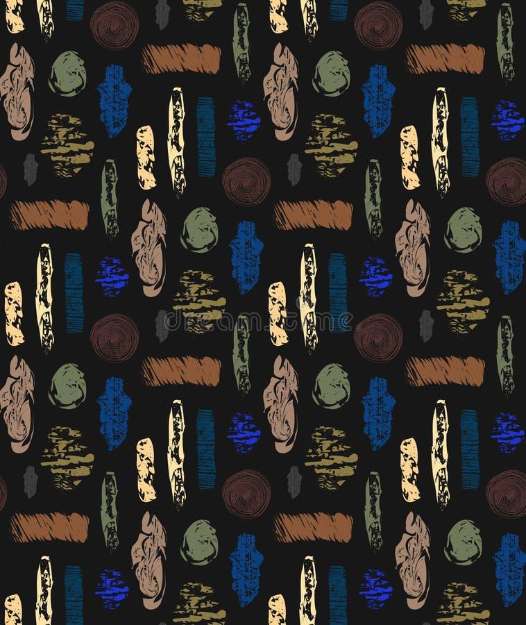 Teste padrão sem emenda abstrato com formas textured Fundo de repetição abstrato colorido Projeto creativo ilustração royalty free