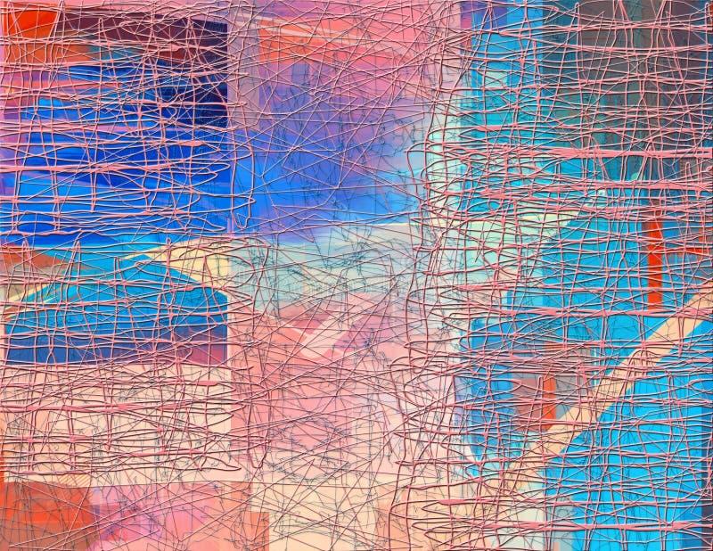 Teste padrão sem emenda abstrato com linha caótica e elementos de cor diferentes ilustração stock