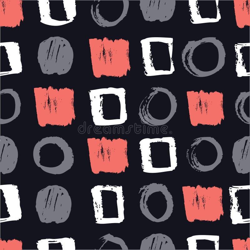 Teste padrão sem emenda abstrato com os círculos e os quadrados que vivem o coral, o cinza e o fundo preto ilustração stock