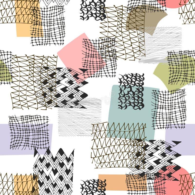 Teste padrão sem emenda abstrato com os ornamento tirados mão da garatuja e manchas coloridas Projeto na moda ilustração stock