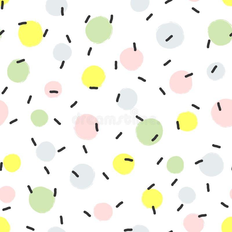 Teste padrão sem emenda abstrato com os pontos redondos da pintura e das linhas tiradas à mão ilustração stock