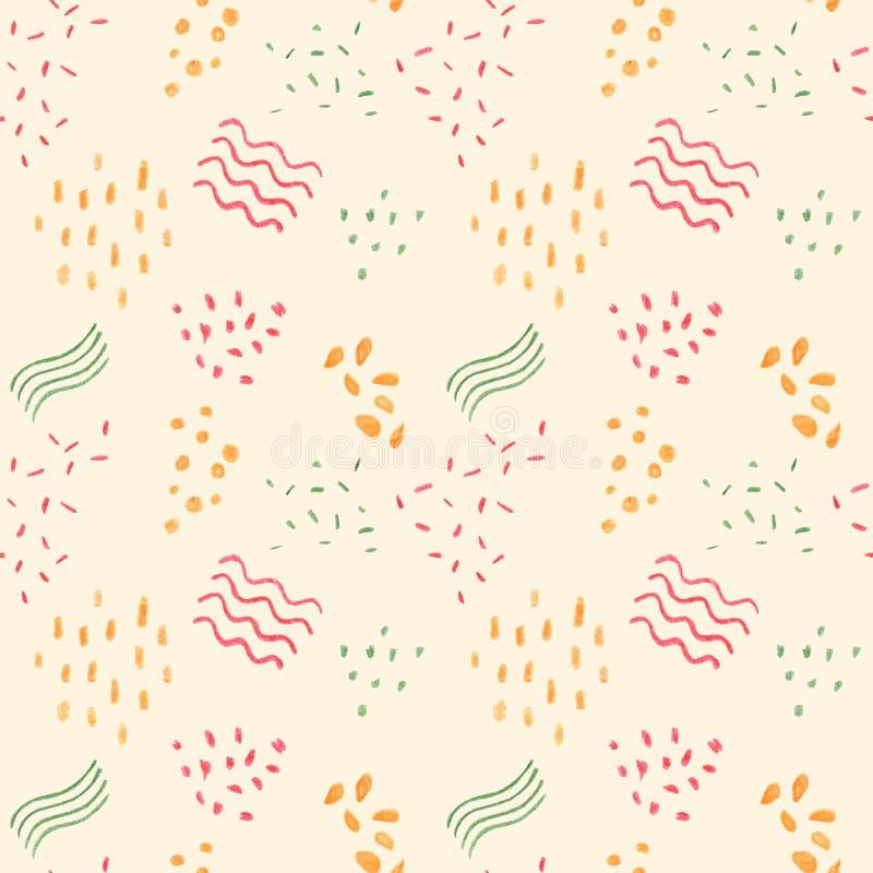 Teste padrão sem emenda abstrato com pontos e linhas Ilustração handdrawn do pastel amarelo morno Tiragem pastel das crianças ilustração royalty free