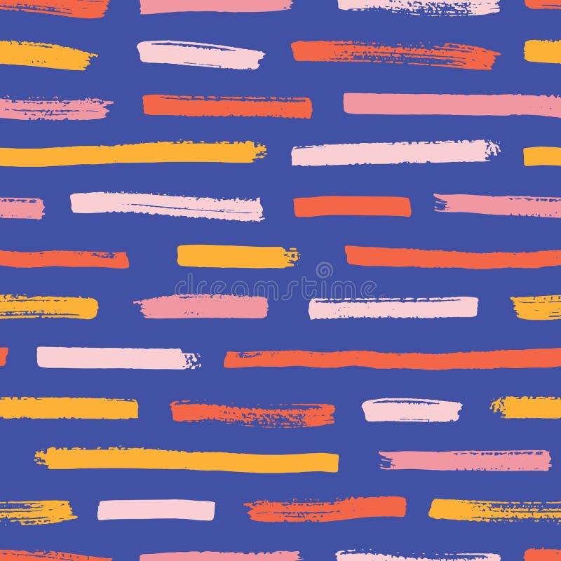 Teste padrão sem emenda abstrato com traços heterogêneos da pintura no fundo azul Contexto decorativo com cursos horizontais da e ilustração royalty free