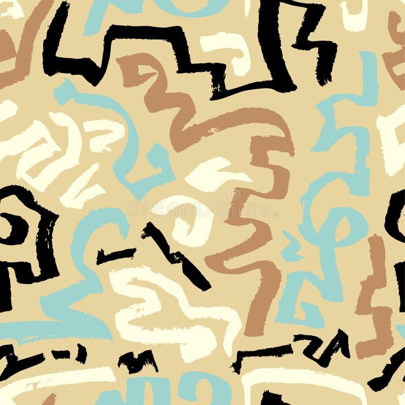 Teste padrão sem emenda abstrato Curvas artísticas tiradas mão da tinta Blac ilustração royalty free