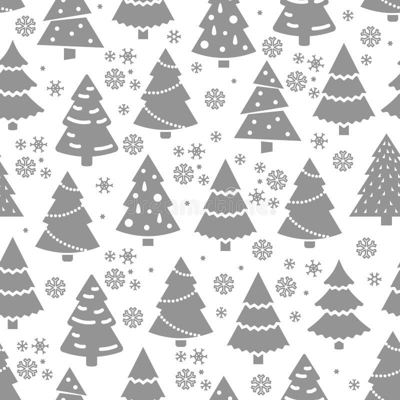 Teste padrão sem emenda abstrato da árvore de Natal Textura sem emenda do inverno com árvore e flocos de neve de abeto ilustração royalty free