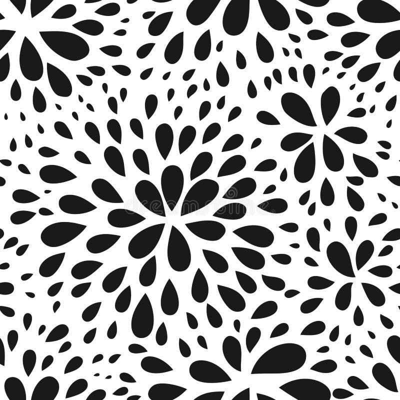 Teste padrão sem emenda abstrato da gota Textura preto e branco monocromática Repetindo o fundo gráfico simples geométrico ilustração do vetor