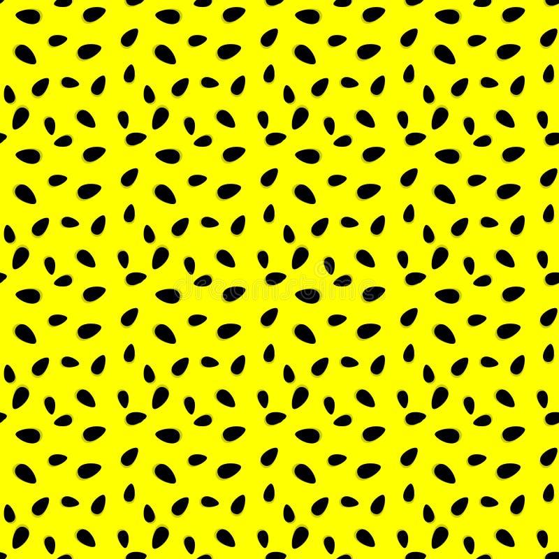 Teste padrão sem emenda abstrato das sementes da melancia no fundo amarelo Teste padrão do vetor dos objetos naturais Molde para ilustração stock