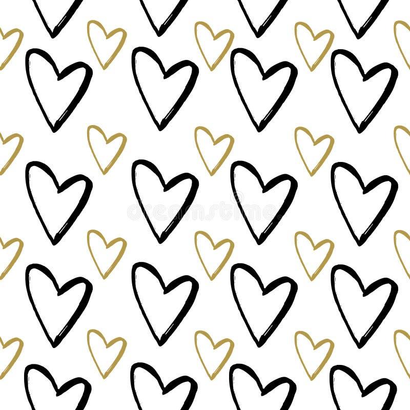 Teste padrão sem emenda abstrato de corações de tiragem da mão Ilustração da tinta Corações pretos e dourados no fundo branco ilustração do vetor