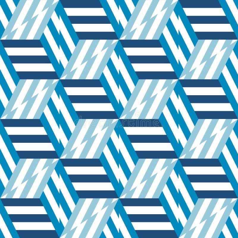 Teste padrão sem emenda abstrato de cubos e de linhas azuis ilustração do vetor