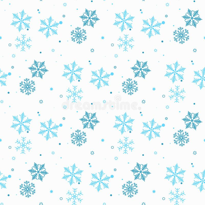 Teste padrão sem emenda abstrato de flocos de neve azuis de queda no fundo branco Teste padrão do inverno para a bandeira, o cump ilustração stock