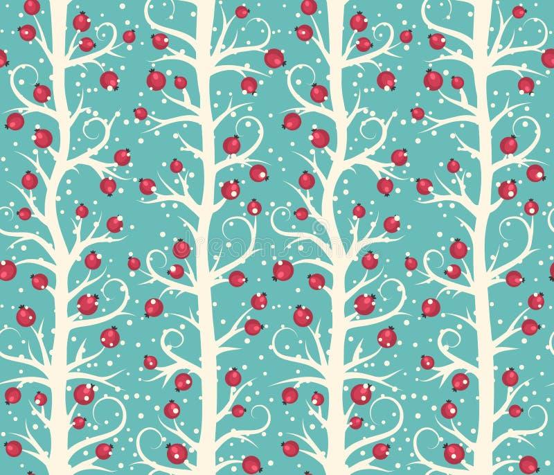 Teste padrão sem emenda abstrato do inverno do Natal com as bagas em árvores ilustração royalty free