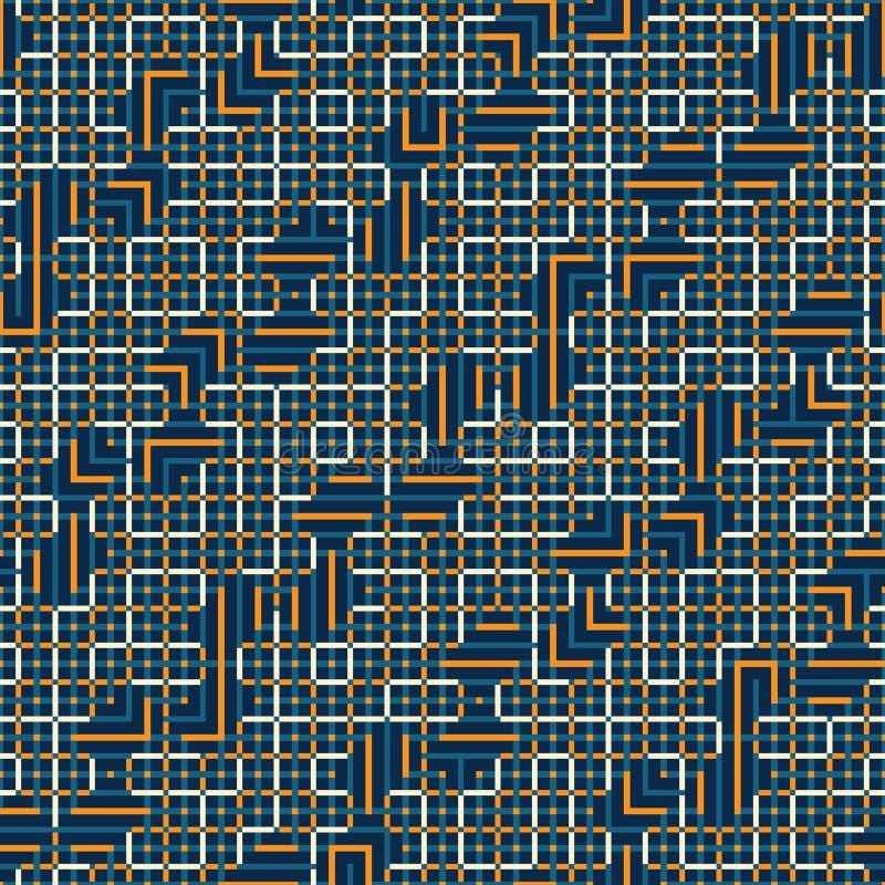 Teste padrão sem emenda abstrato do vetor de cruzar ornamento quadrados ilustração stock