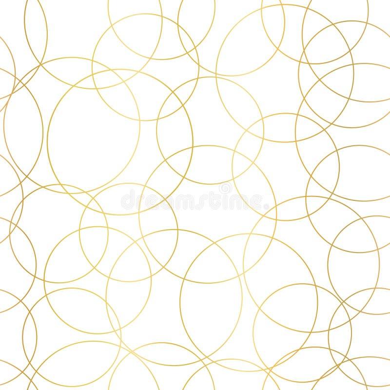 Teste padrão sem emenda abstrato do vetor dos círculos da folha de ouro Círculos de sobreposição dourados brilhantes do fundo ele ilustração stock