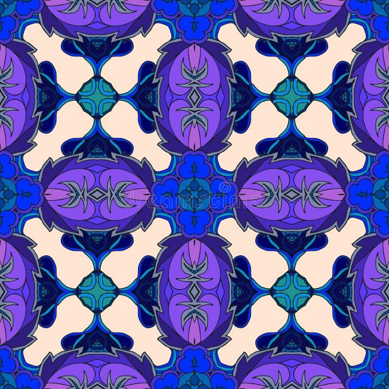 Teste padrão sem emenda abstrato do vetor em tons azuis e lilás ilustração stock
