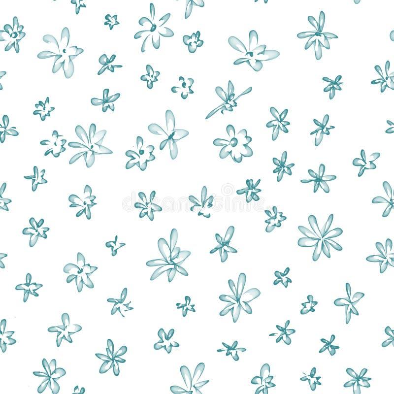 Teste padrão sem emenda abstrato do vetor, flores do handrawn ilustração do vetor