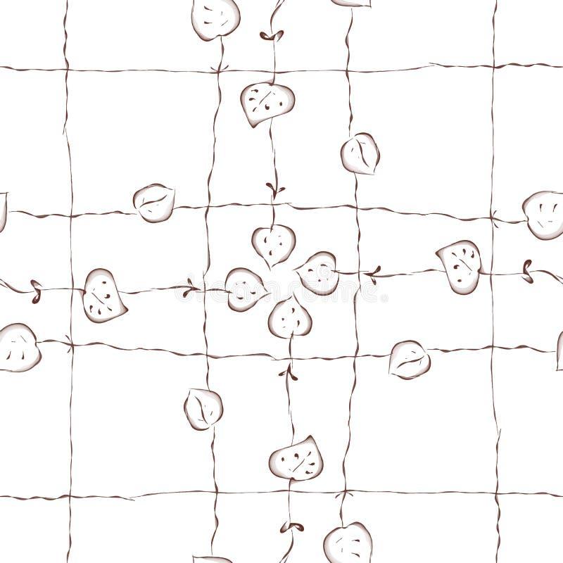 Teste padrão sem emenda abstrato do vetor, folhas do handrawn ilustração do vetor