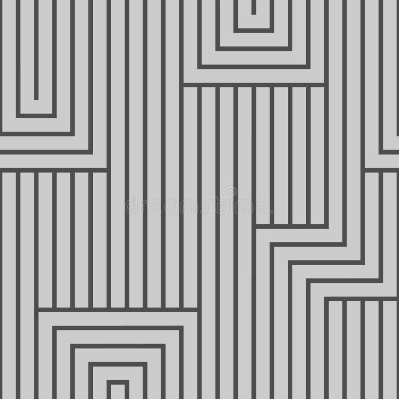 Teste padrão sem emenda abstrato do vetor Linhas Cinza, isolado na luz - fundo cinzento ilustração stock