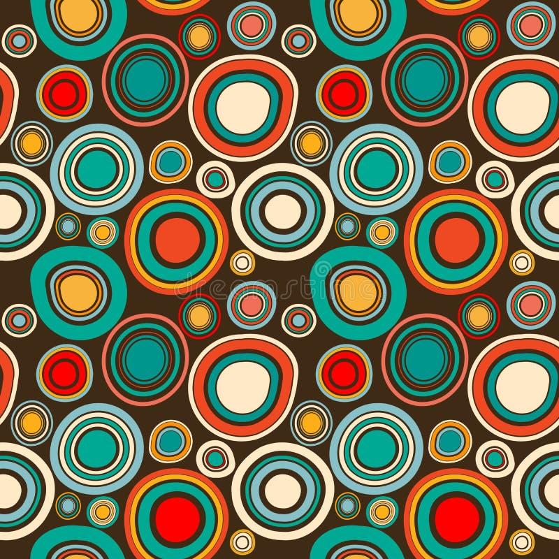 Teste padrão sem emenda abstrato do vintage com formas redondas ilustração stock