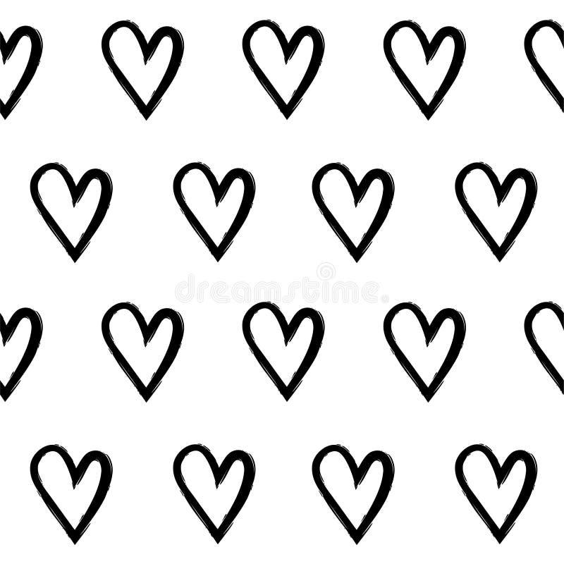 Teste padrão sem emenda abstrato dos corações da tração da mão ilustração stock
