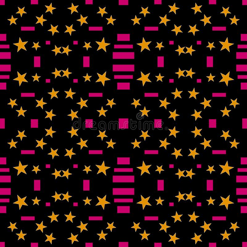 Teste padrão sem emenda abstrato Estrelas alaranjadas, retângulos cor-de-rosa, ilustração royalty free