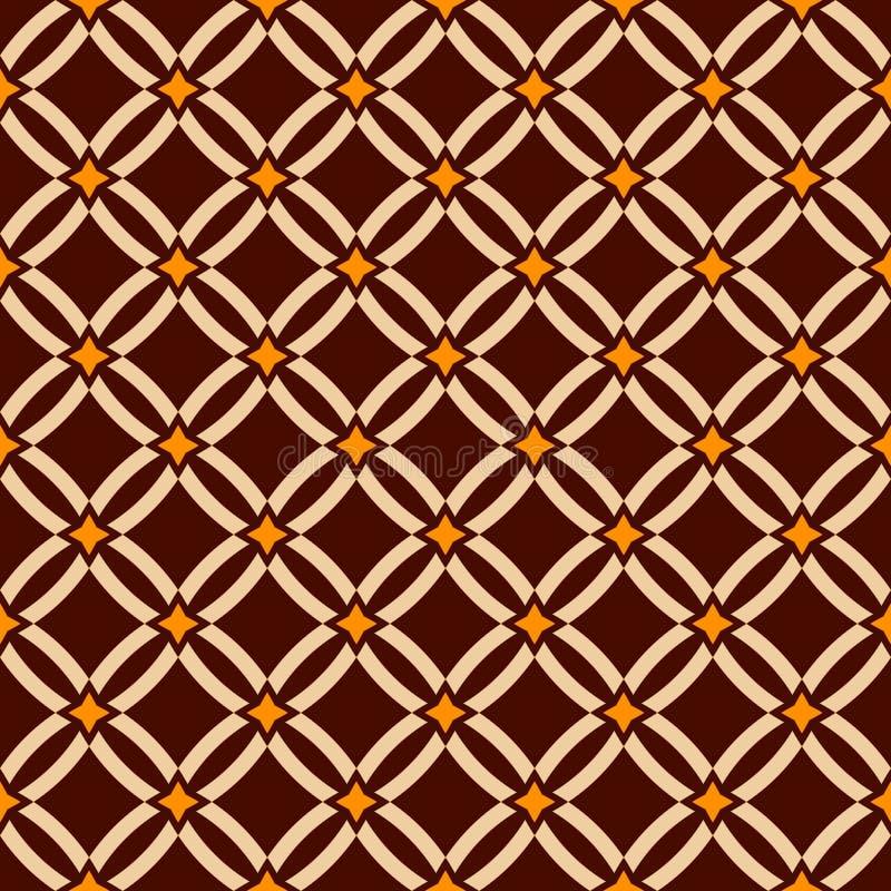 Teste padrão sem emenda abstrato Estrutura geométrica Ornamento étnico Formas do diamante Brown, cores bege, amarelas Backgroun d ilustração royalty free